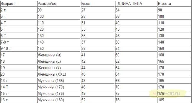 Большая таблица с размерами